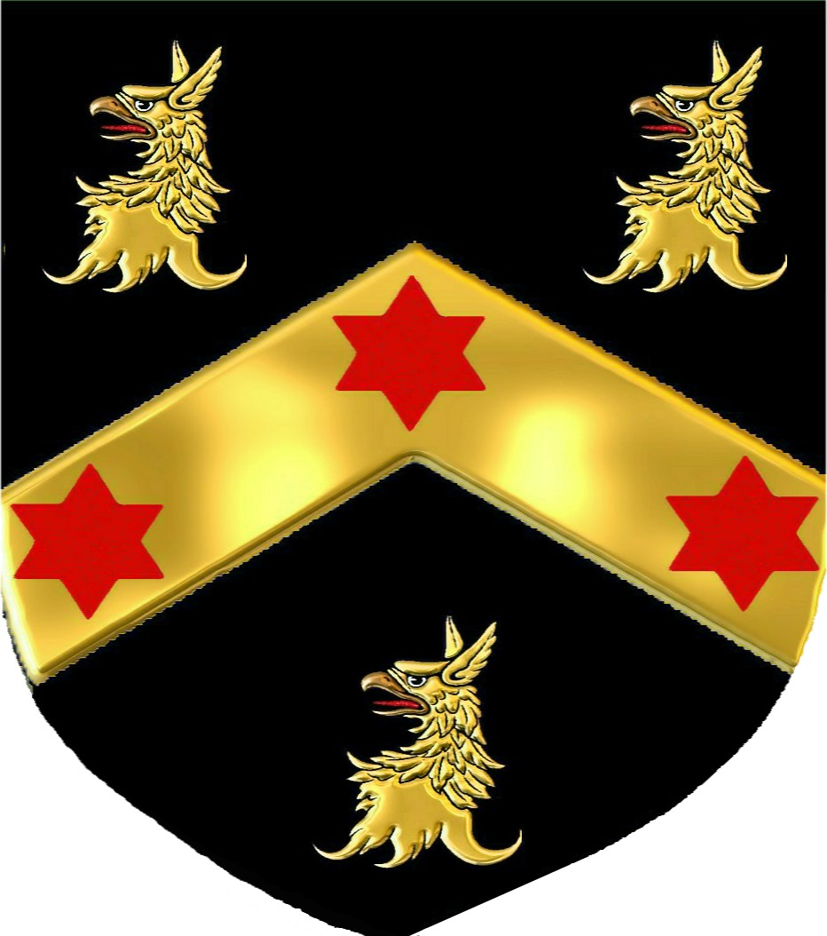 The red thread genealogy for the lost tribes of israel coat of arms a black shield with three red estoiles on a gold chevron between three gold griffin heads crest a griffins head with two wings buycottarizona Images